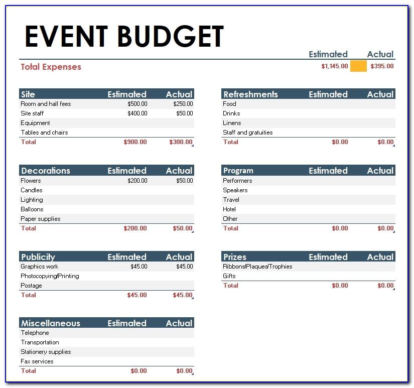 Event Budget Template Xls
