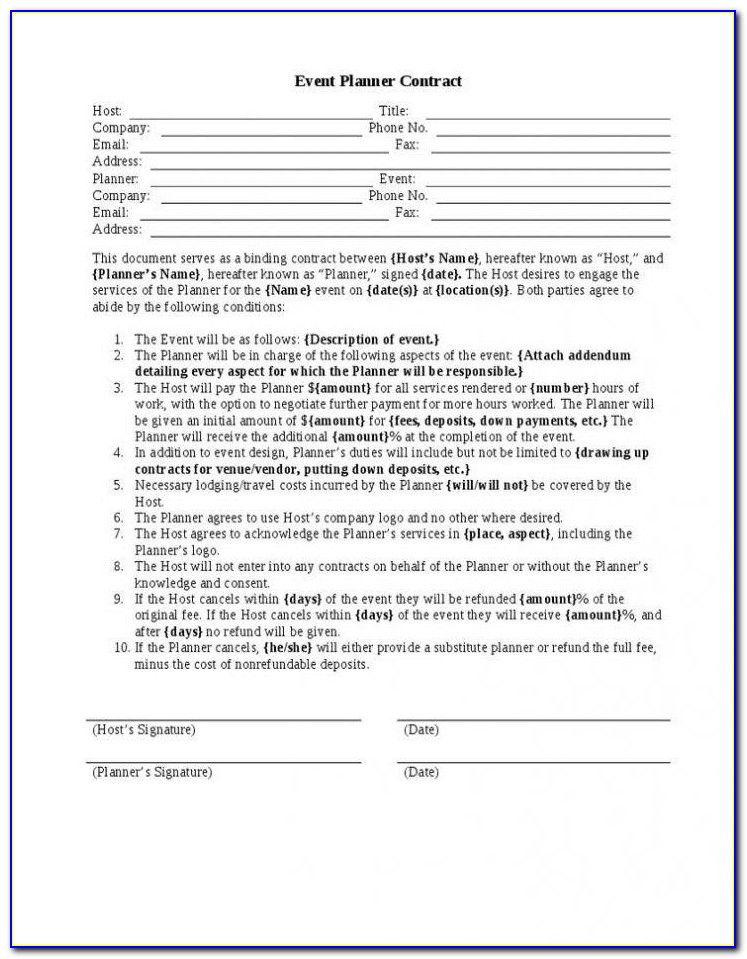 Event Planner Agreement Template