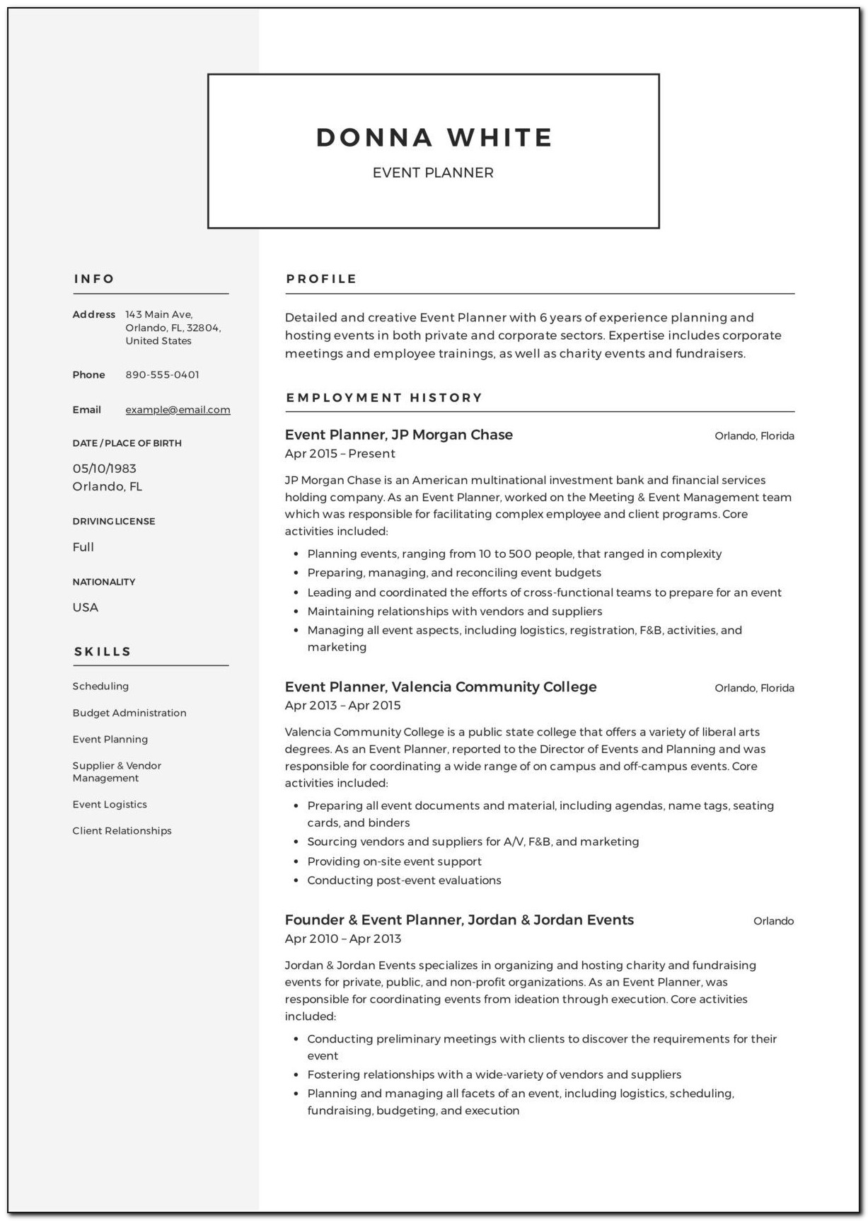 Event Planner Contract Sample Free