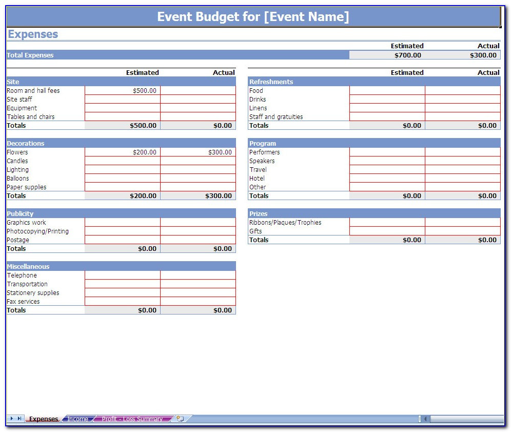 Event Planning Budget Template Excel