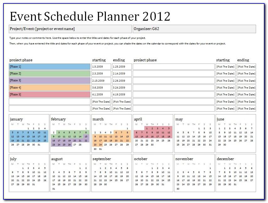 Event Schedule Planner Template 2017