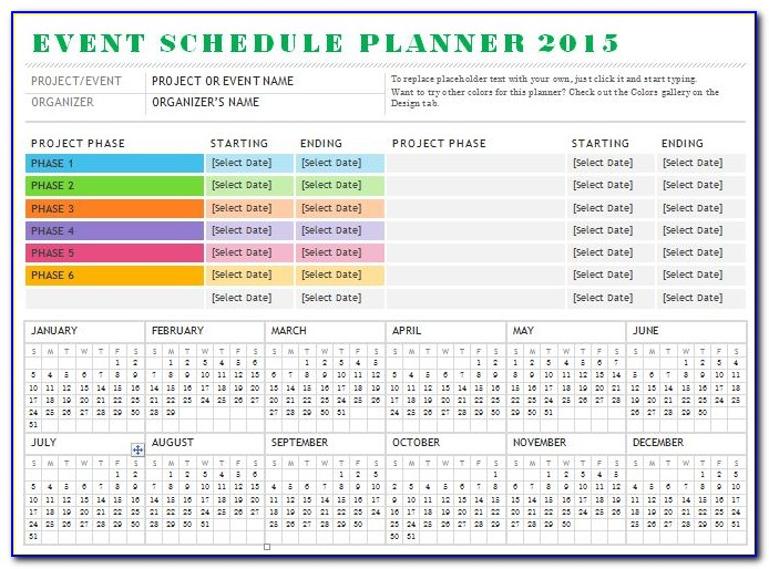 Event Schedule Planner Template 2018