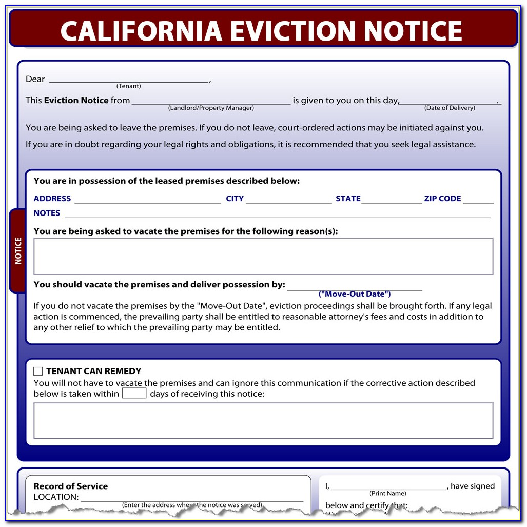 Eviction Notice Example Uk