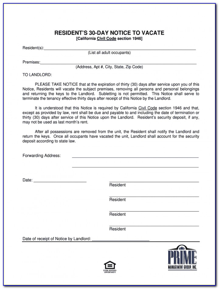 Eviction Notice Form California Free