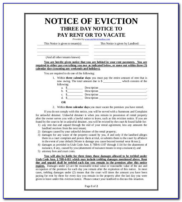Eviction Notice Form California Pdf
