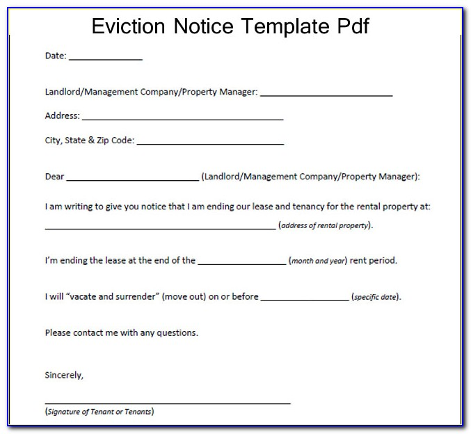 Eviction Notice Form California Sample