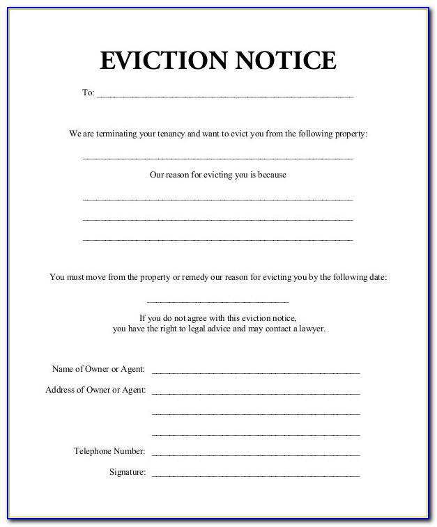 Eviction Notice Form North Carolina