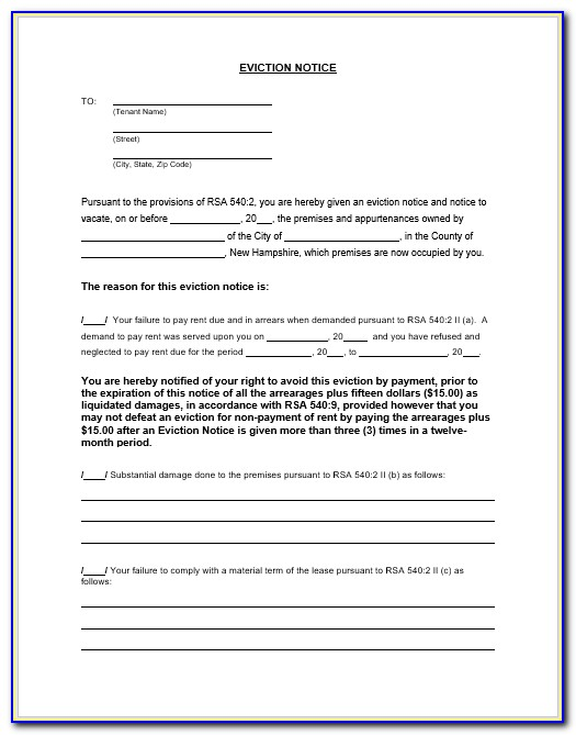 Eviction Notice Letter Example