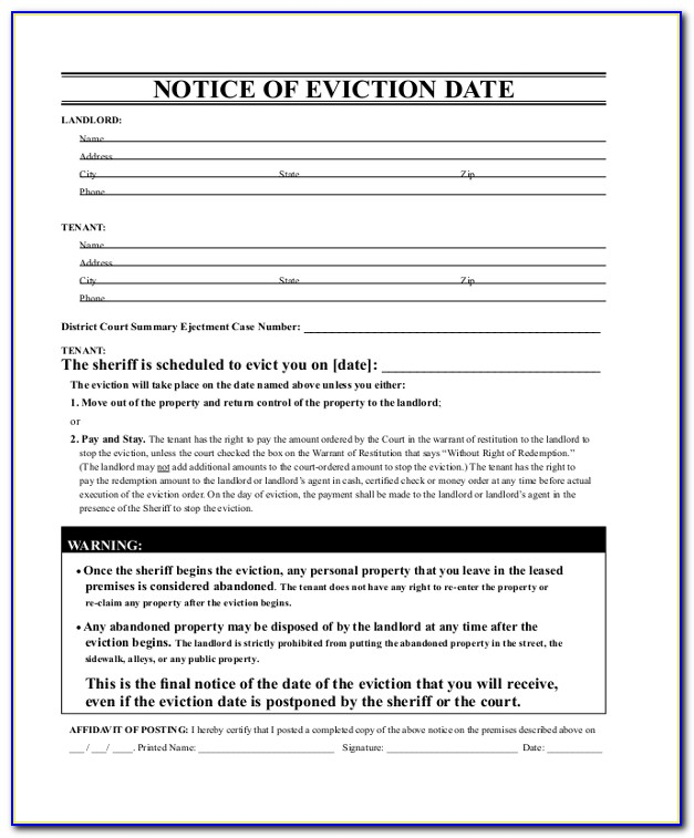 Eviction Notice North Carolina Form Free