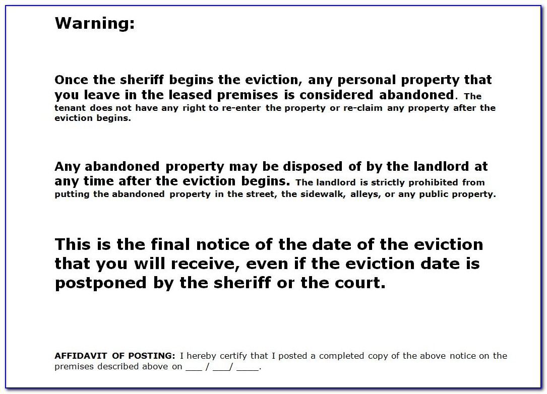 Eviction Notice Template Nc