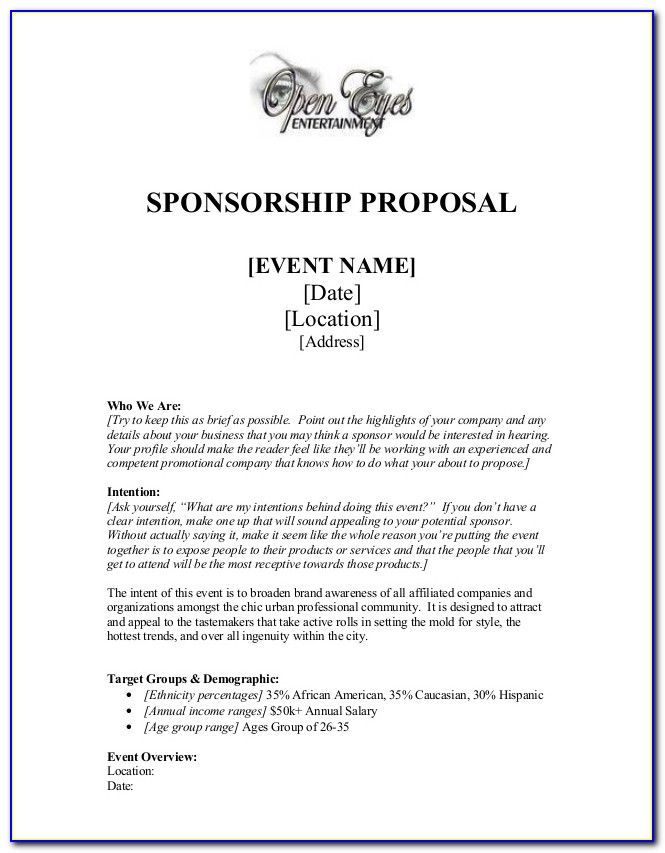 Example For Sponsorship Proposal
