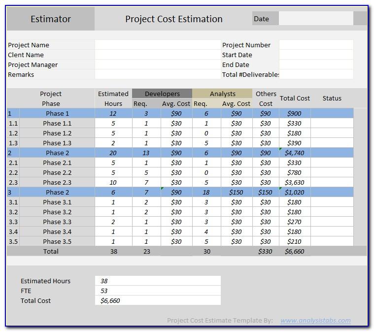 Excel Cost Estimate Templates