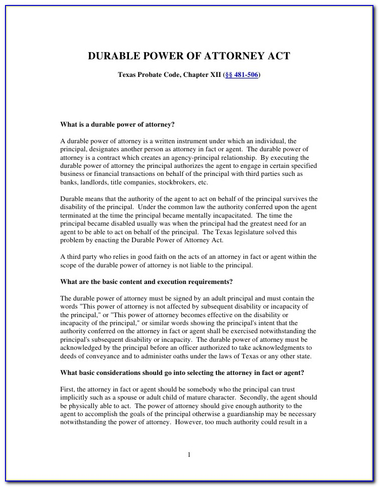 Free Durable Power Of Attorney Forms For Missouri