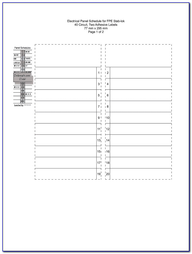 Free Electrical Panel Label Template Excel