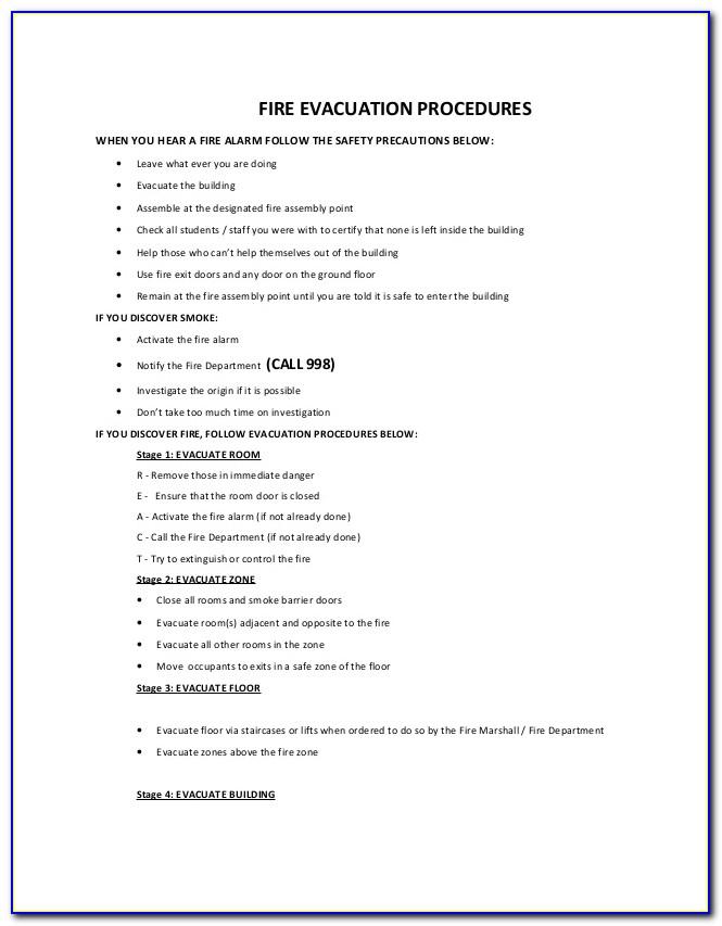 Free Emergency Evacuation Procedure Template