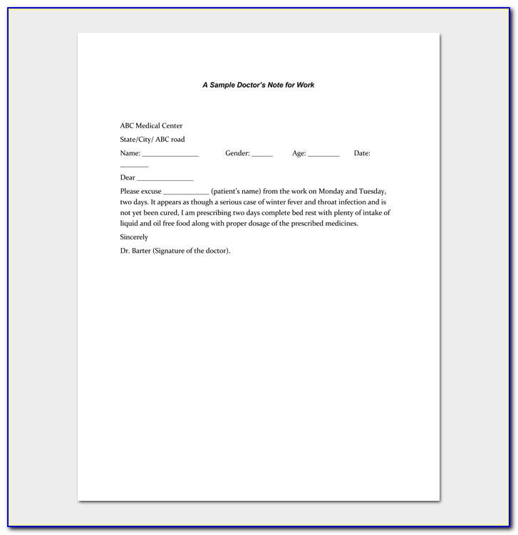 Free Printable Doctors Note For Work Pdf
