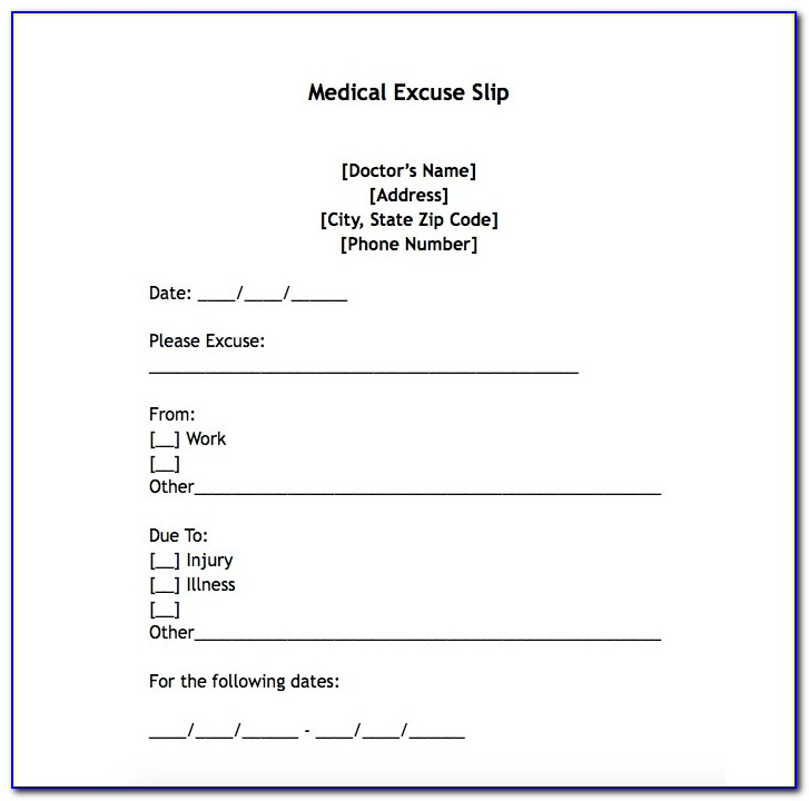 Free Printable Doctors Note For Work Template