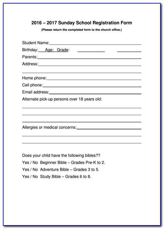 Free Student Enrollment Form Template