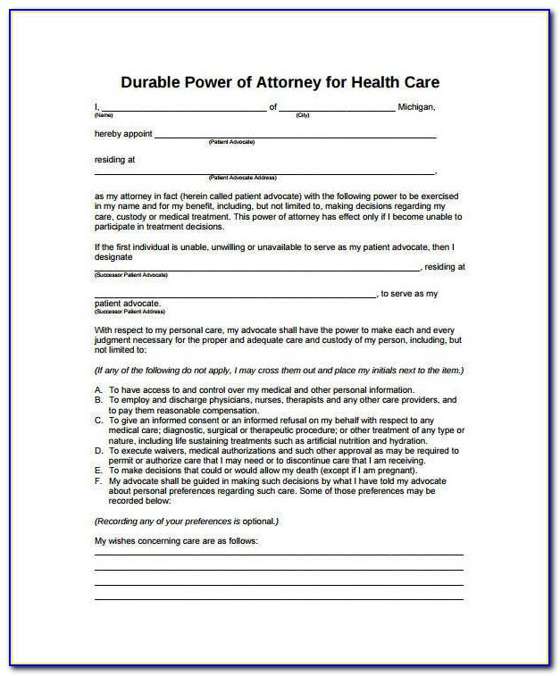 General Durable Power Of Attorney Form New Jersey