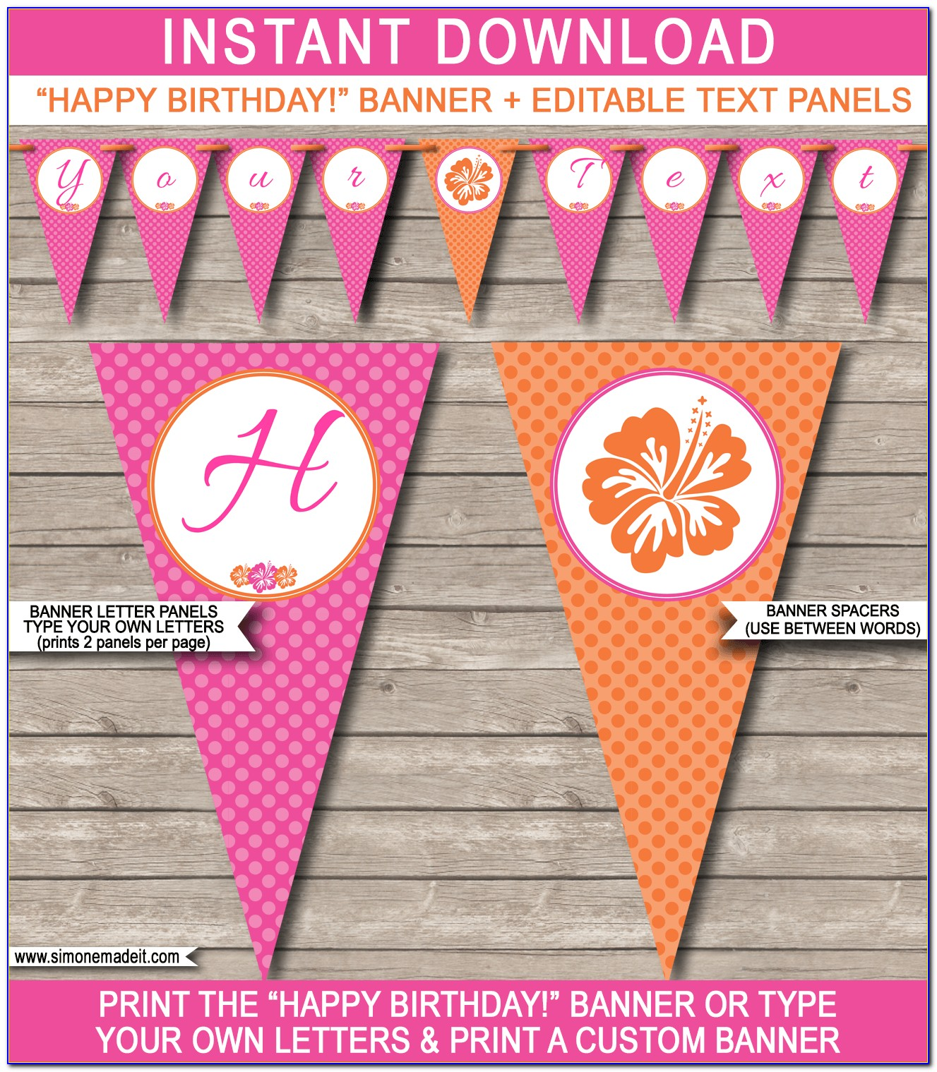 Happy Birthday Banner Template Editable