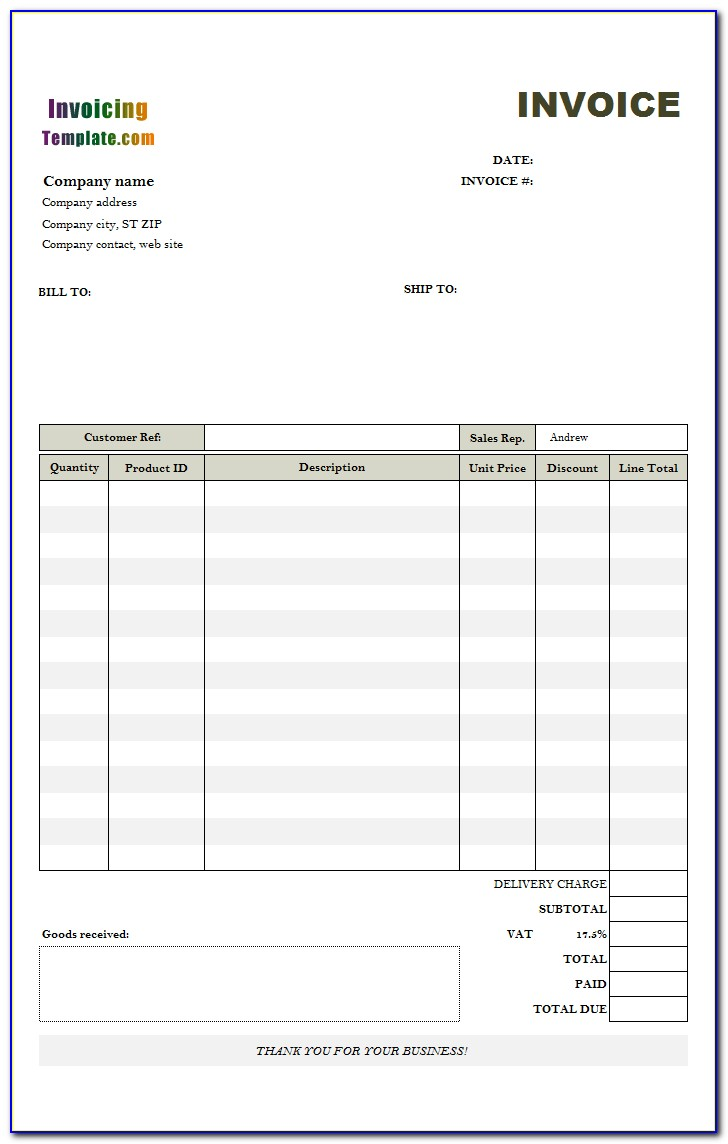 Invoice Template For Excel Free Download