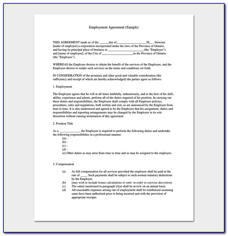 Job Contract Template Canada