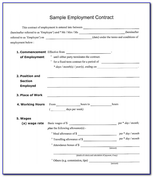 Job Contract Template Free