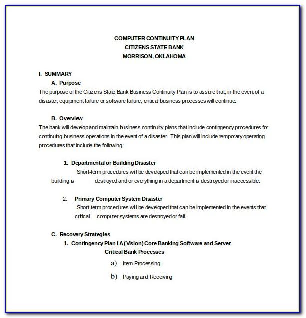 Natural Disaster Contingency Plan Sample