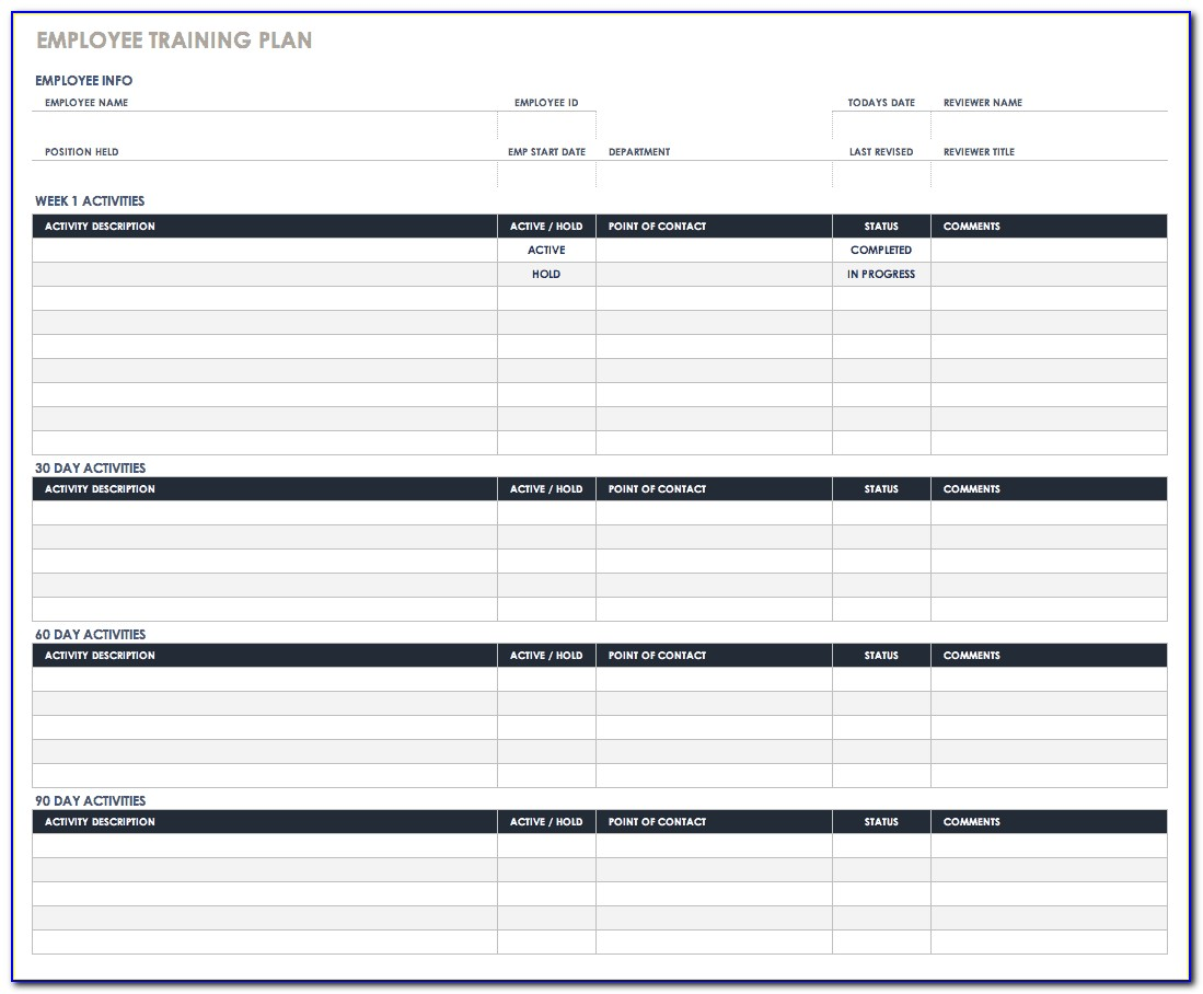 New Employee Training Plan Excel Template