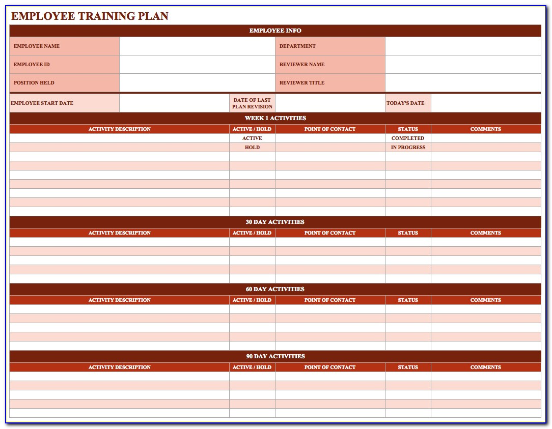 New Employee Training Schedule Template Excel