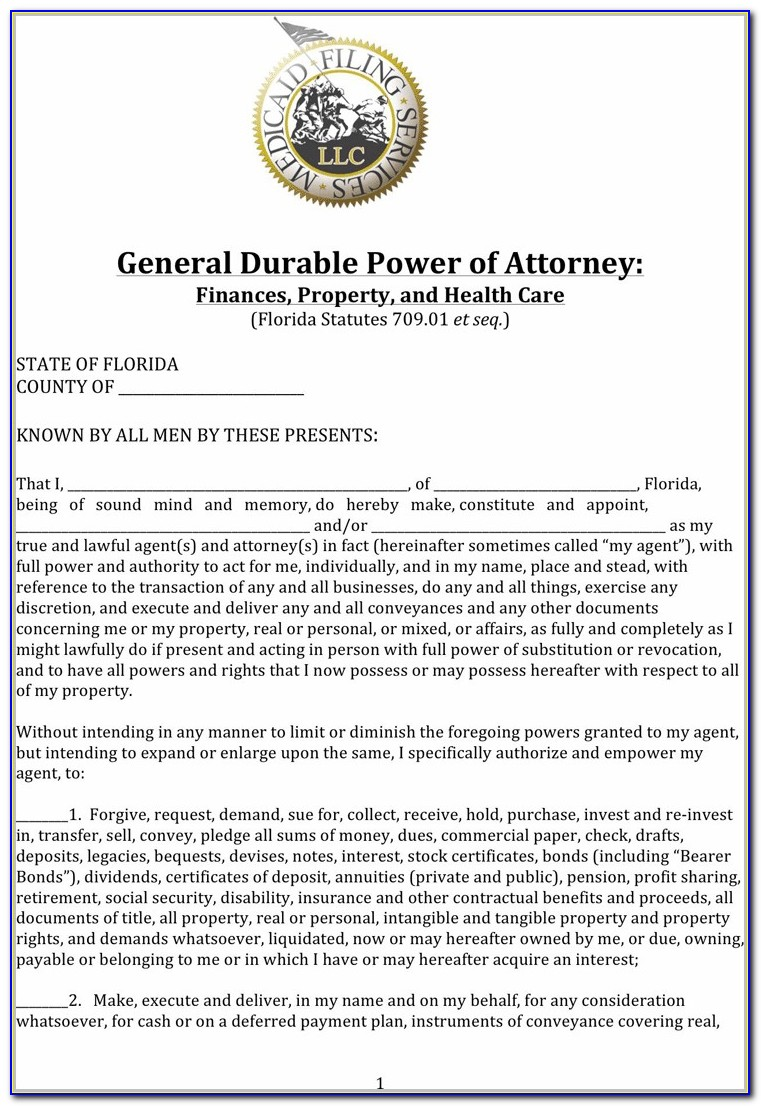 Printable Durable Power Of Attorney Form Illinois