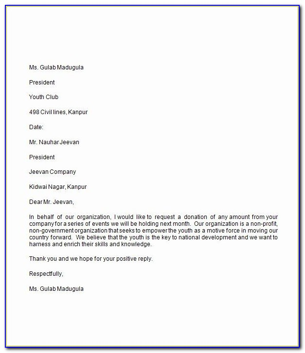 Sample Donation Letter For Sick Person
