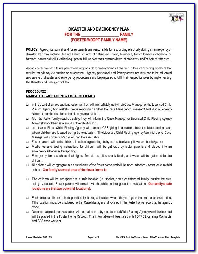 Sample Emergency Preparedness Plan For Home Care