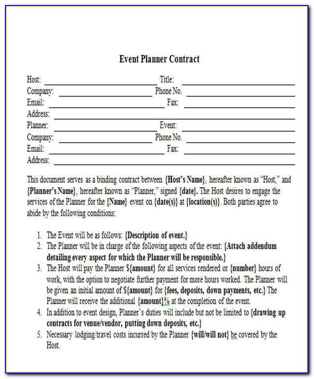 Sample Event Planner Contract Agreement