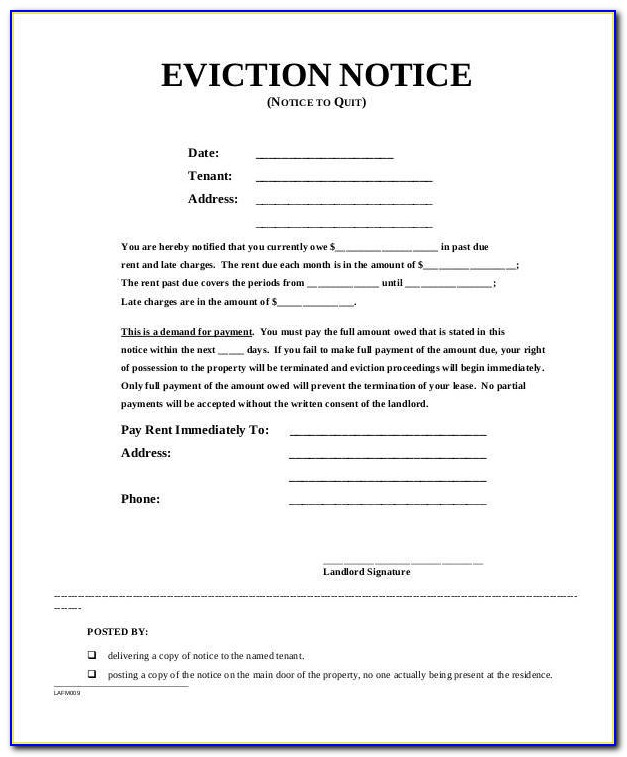 Sample Eviction Notice In Maryland