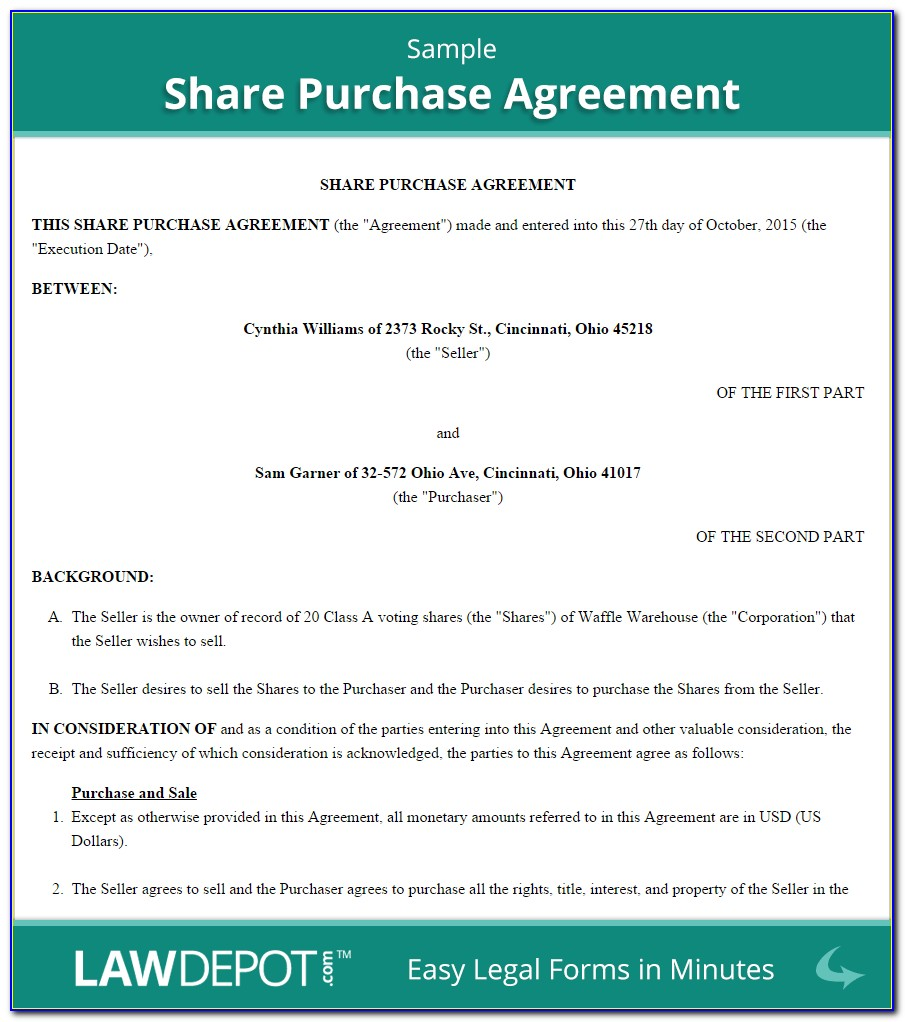 Shares Purchase Agreement Format