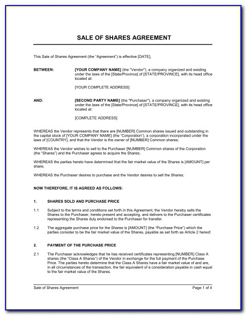 Shares Purchase Agreement Sample