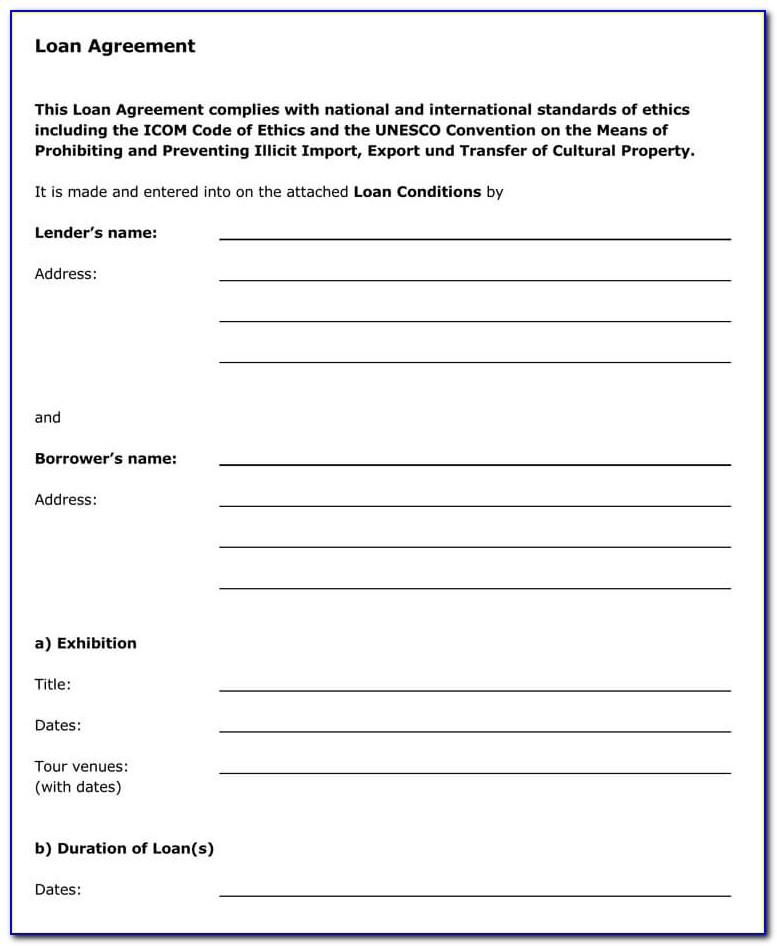 Standard Contract For Lending Money