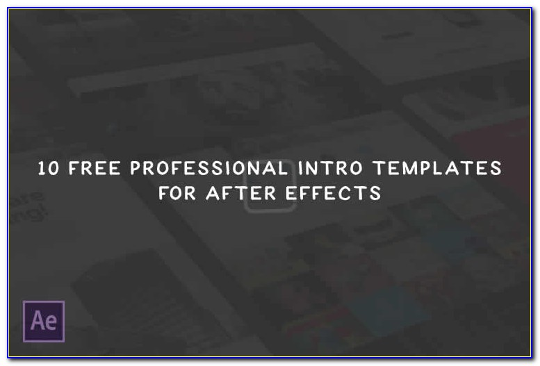 After Effects Intro Templates Free Download