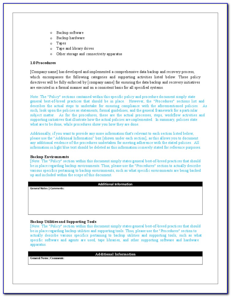 Backup Data Retention Policy Template