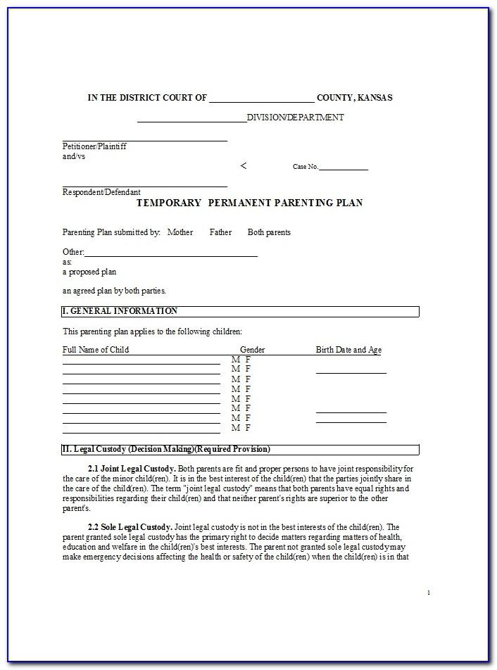 Child Custody Agreement Example Virginia
