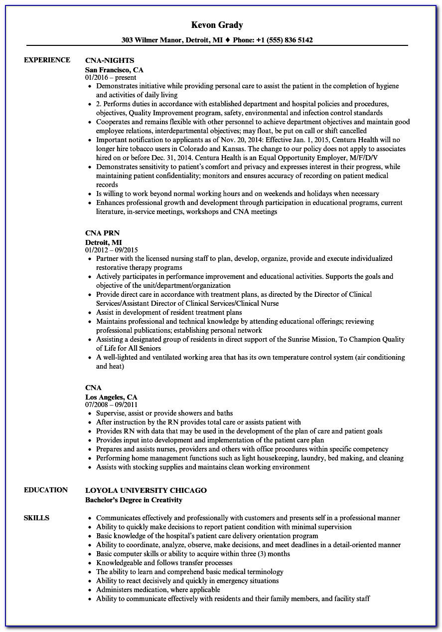 Cna Resume Sample Entry Level