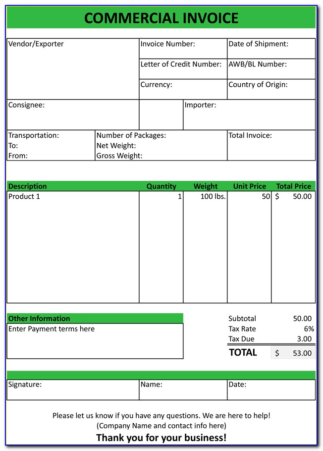 Commercial Invoice Template Excel 2003