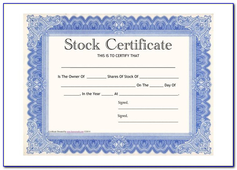 Common Shares Stock Certificate Form