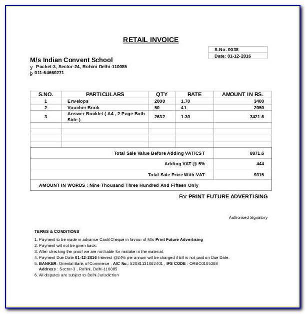 Computer Generated Receipt Format
