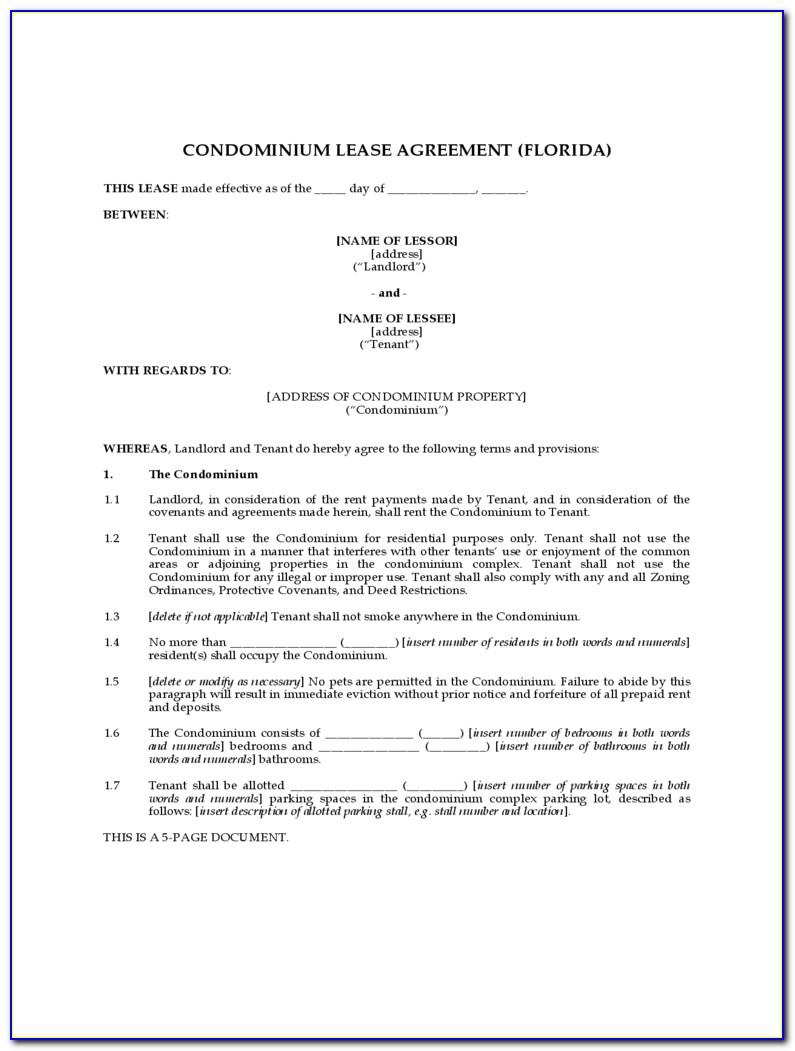 Condo Lease Agreement Form Texas