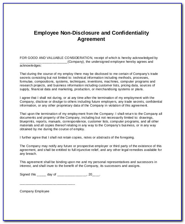 Confidentiality Agreement Format India
