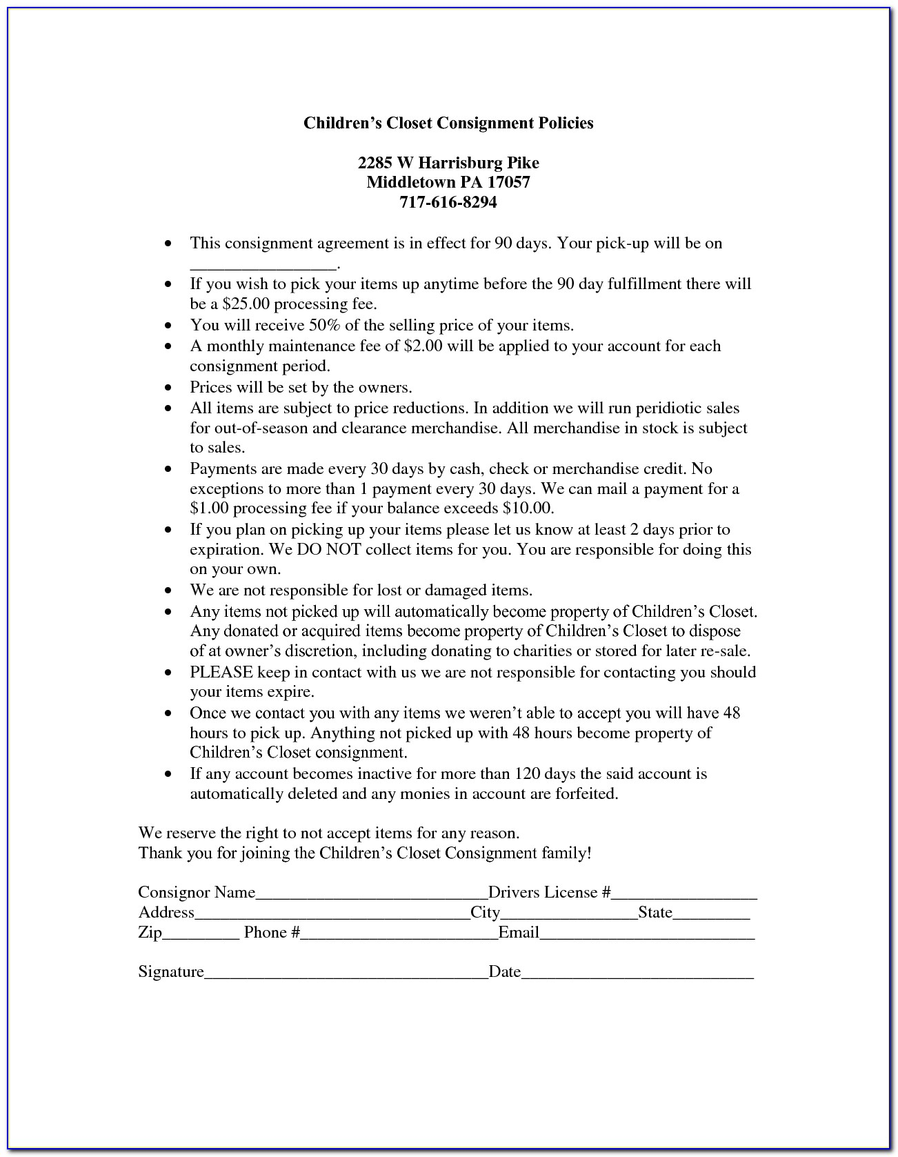 Consignment Shop Agreement Template