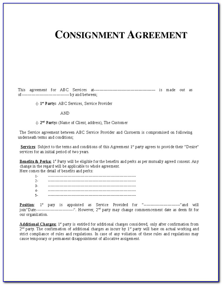 Consignment Shop Contract Sample