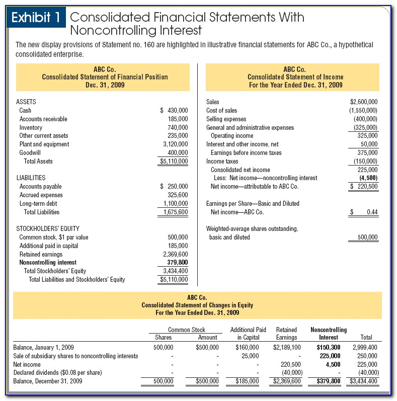 Consolidated Financial Statements Example Excel